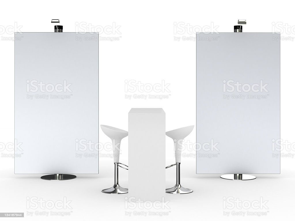 White trade advertising stands royalty-free stock photo