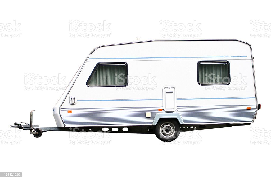 A white trailer on a white background royalty-free stock photo