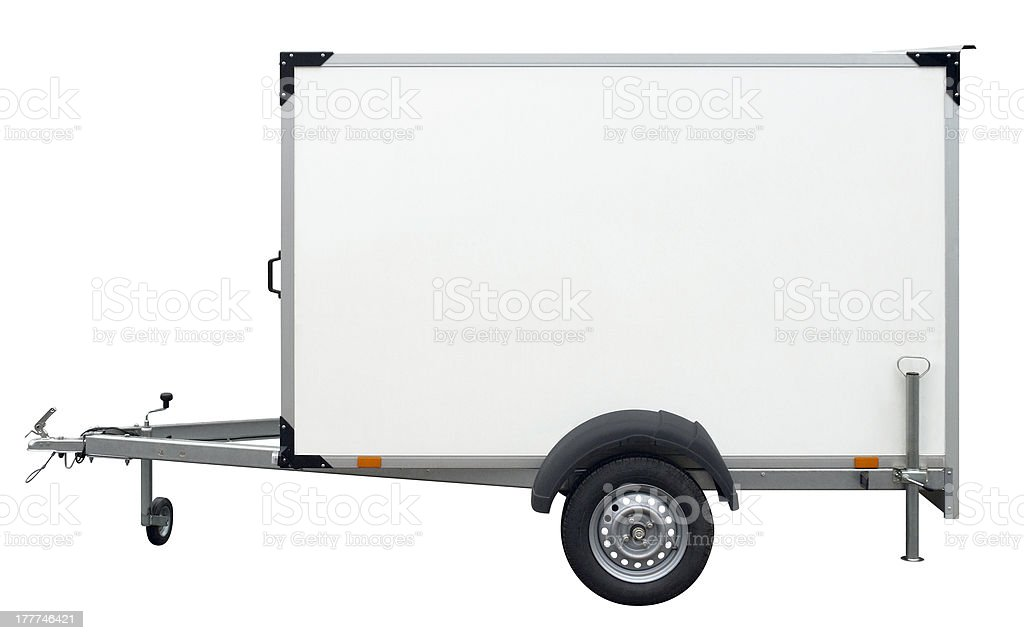 white trailer stock photo