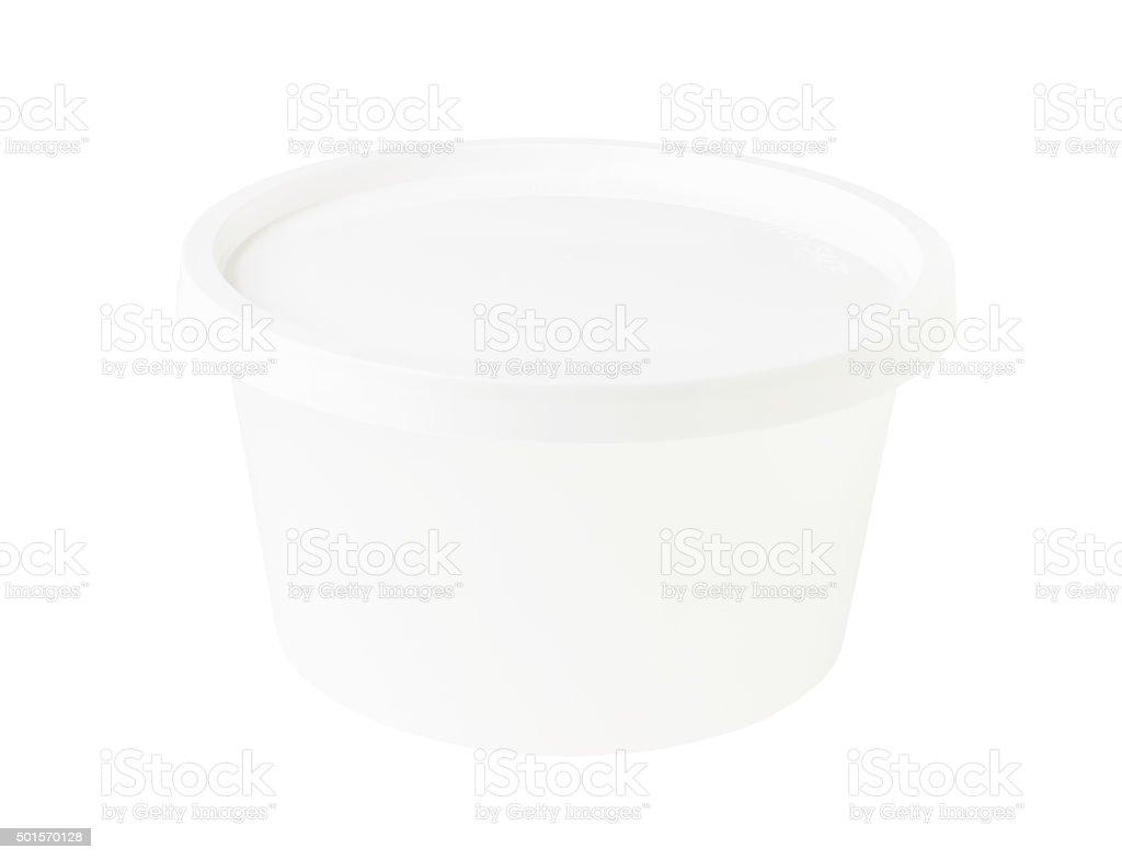 White Transparent Bowl White Cap isolated on white background stock photo