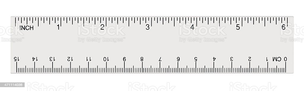 White transparent ruler, isolated inch, centimetre, inches, centimeters, imperial metric stock photo