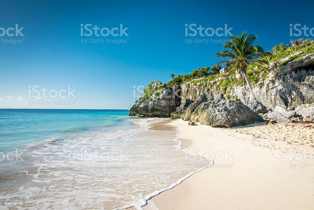 white tropical beach in tulum yucatan mexico stock photo