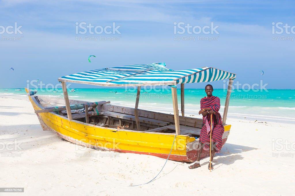White tropical sandy beach on Zanzibar. stock photo