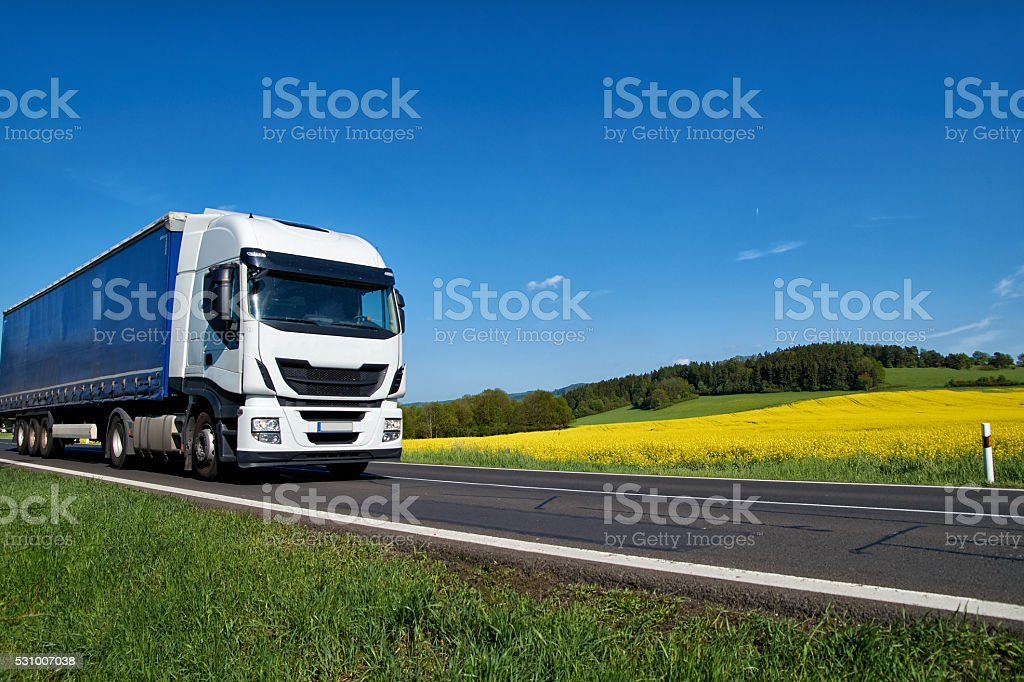 White truck driving on the road around the rapeseed field stock photo