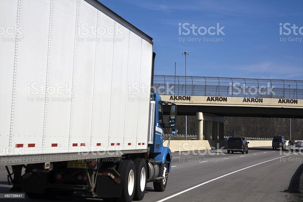 White Truck entering Akron stock photo