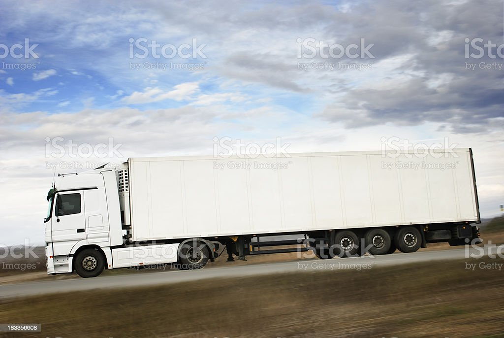 white truck  in full lenght royalty-free stock photo