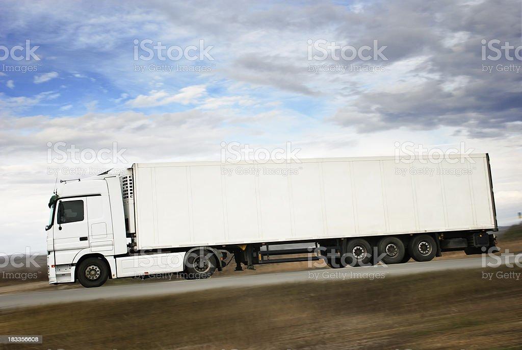 white truck  in full lenght stock photo