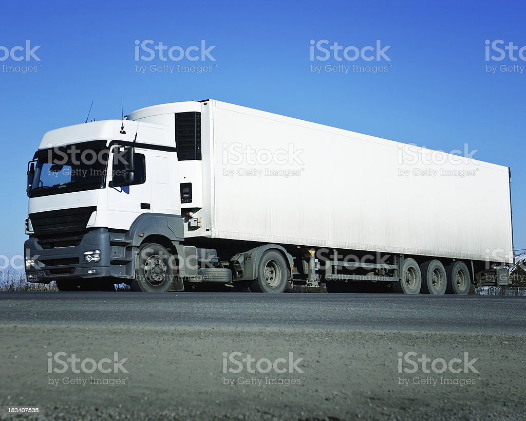 white truck in full lenght stock photo