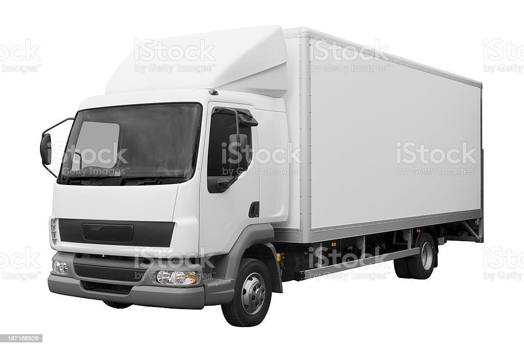 White truck isolated on white background with path royalty-free stock photo
