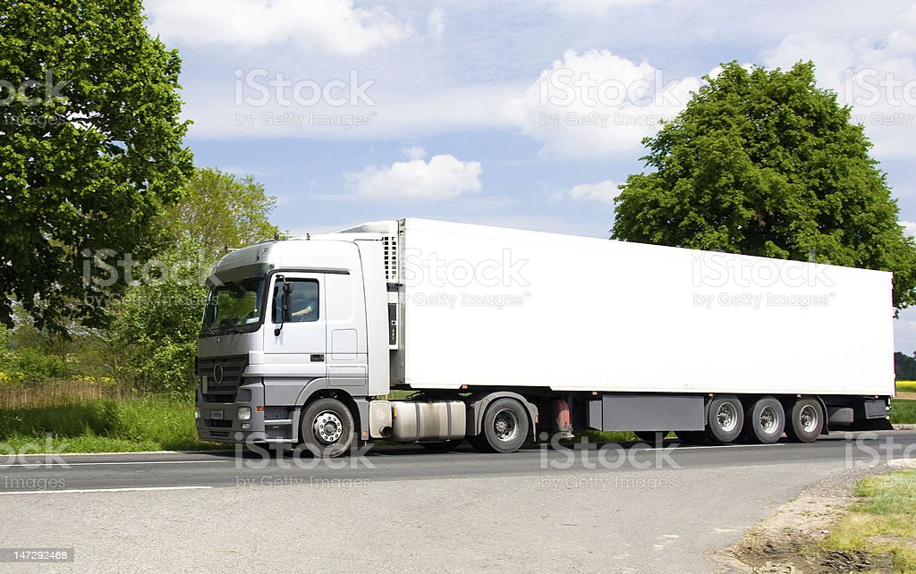 white truck on road royalty-free stock photo