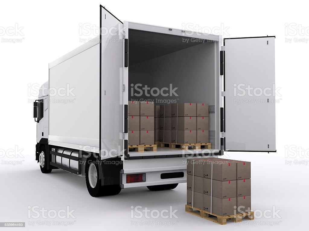 white truck vector art illustration