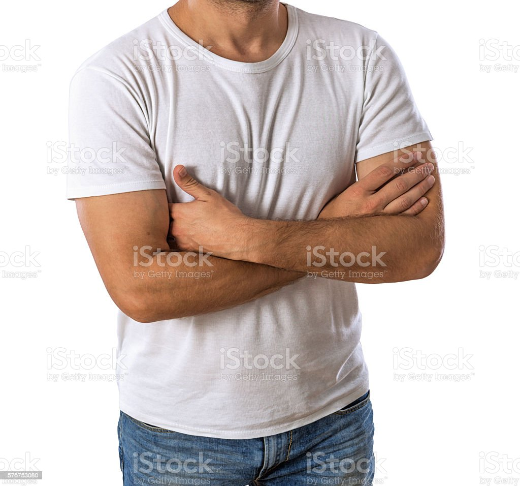 White t-shirt on a young man stock photo
