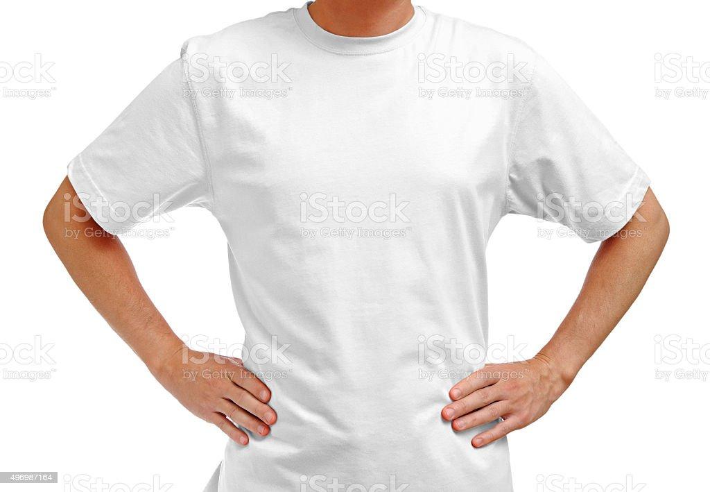 White t-shirt on man stock photo