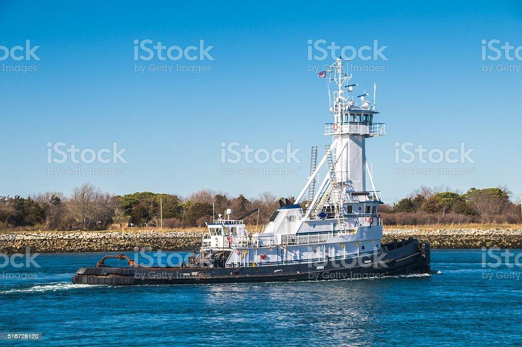 White Tug Boat stock photo