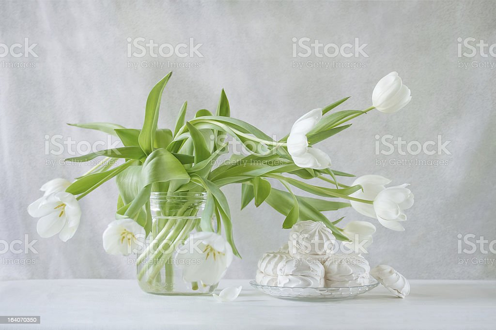 white tulips and marshmallows royalty-free stock photo