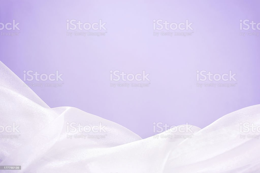 White tulle with purple background. stock photo