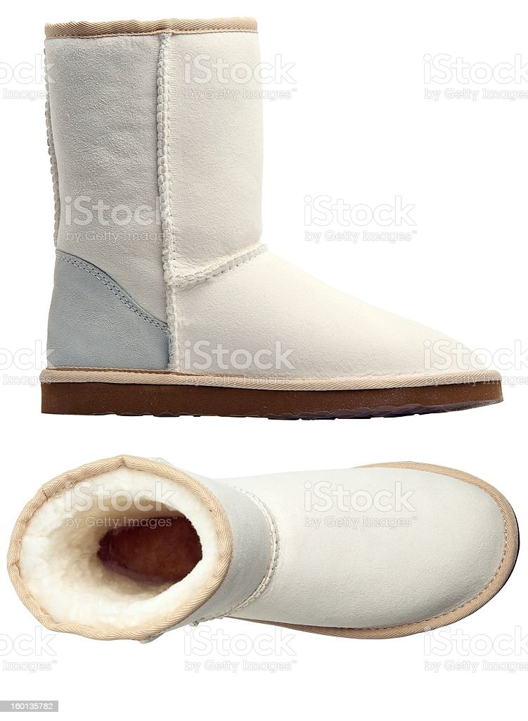 White uggs, side and top views stock photo