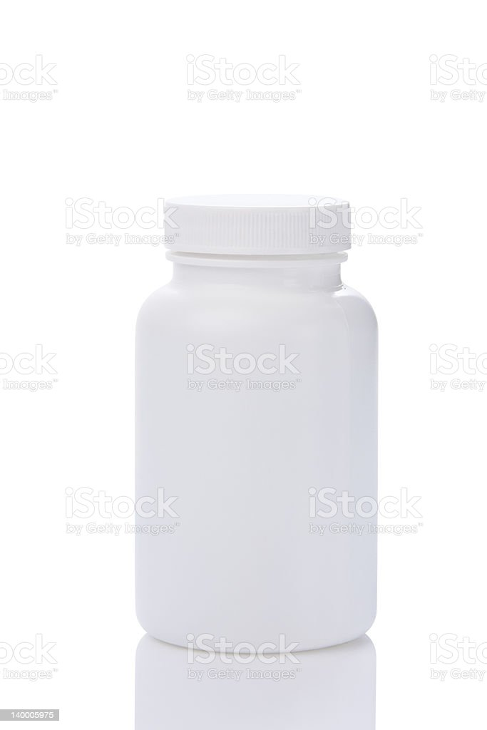 White unmarked pill bottle isolated on white royalty-free stock photo