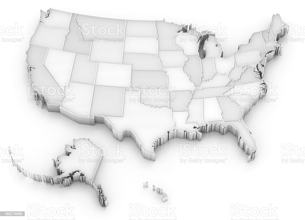 White USA map with states (also Alaska and Hawaii) stock photo