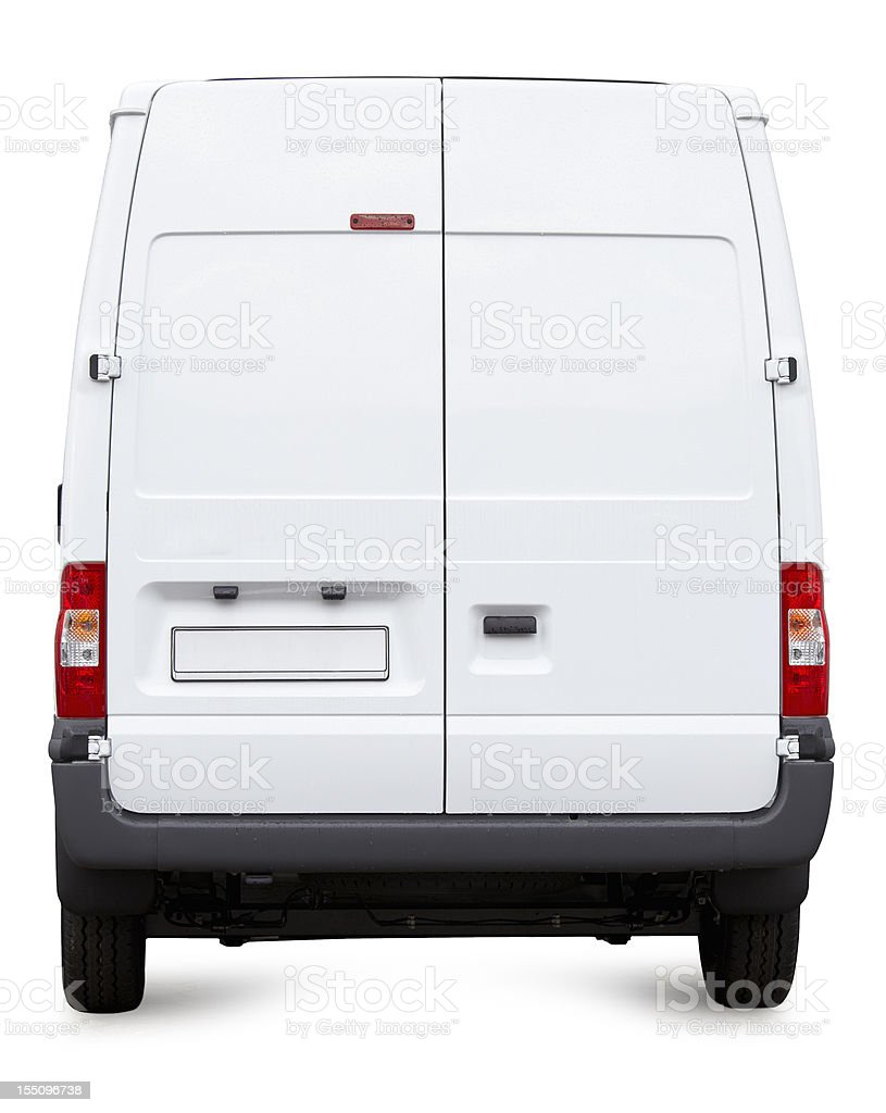 White Van from behind isolated vector art illustration