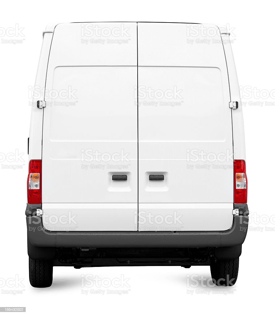 White Van from behind isolated royalty-free stock photo