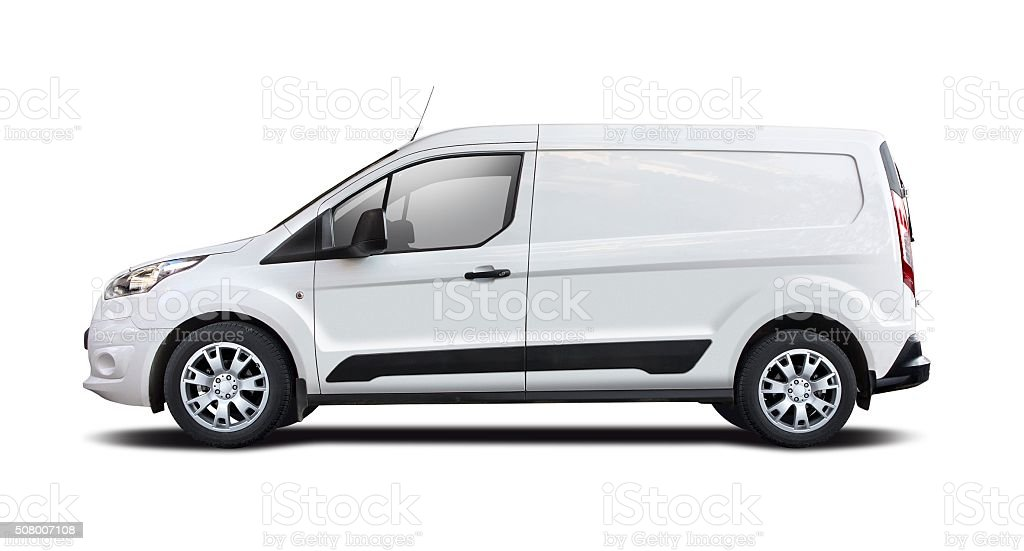 White van isolated on white stock photo