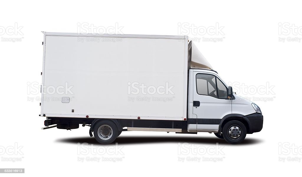 White van isolated stock photo