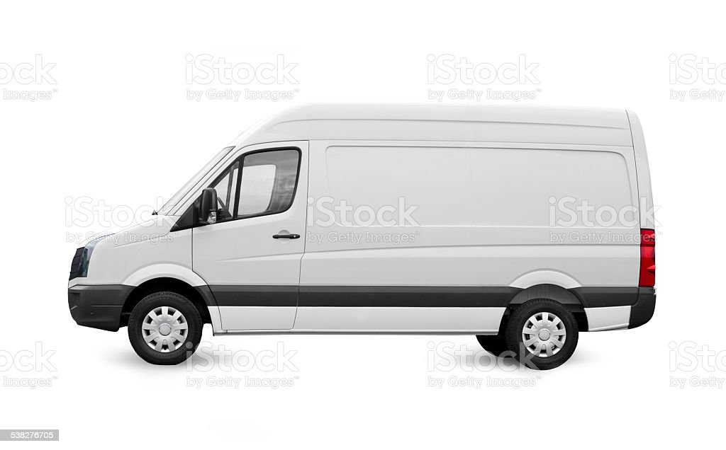 Commercial blank white cargo van on white stock photo