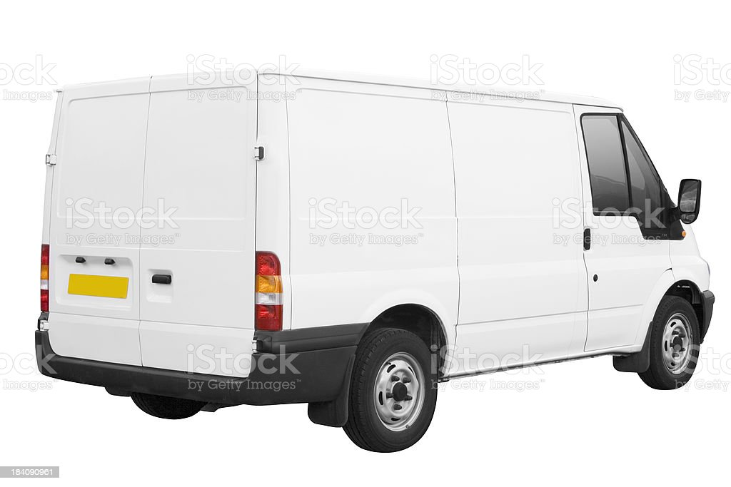 White van ready for branding isolated on white with path stock photo