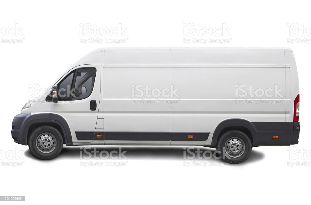 White Van with Clipping Path royalty-free stock photo