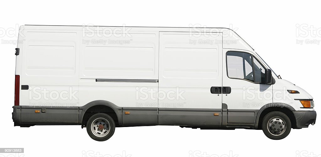 White van - with clipping path stock photo