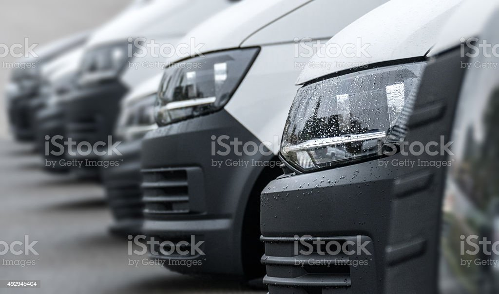White van headlights stock photo