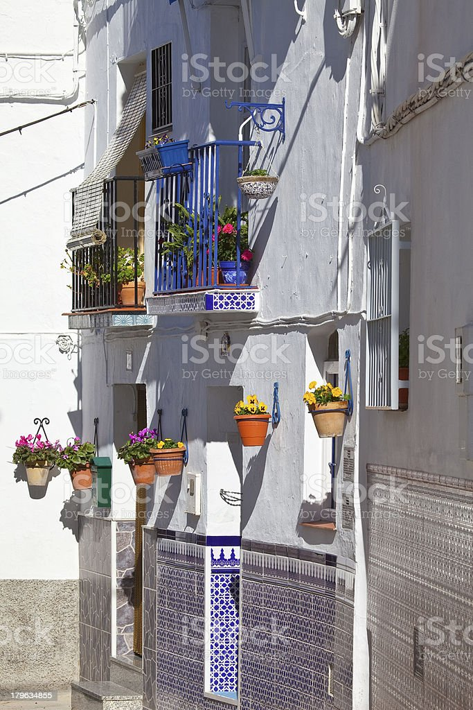 White village street scene, Andalusia, Spain royalty-free stock photo