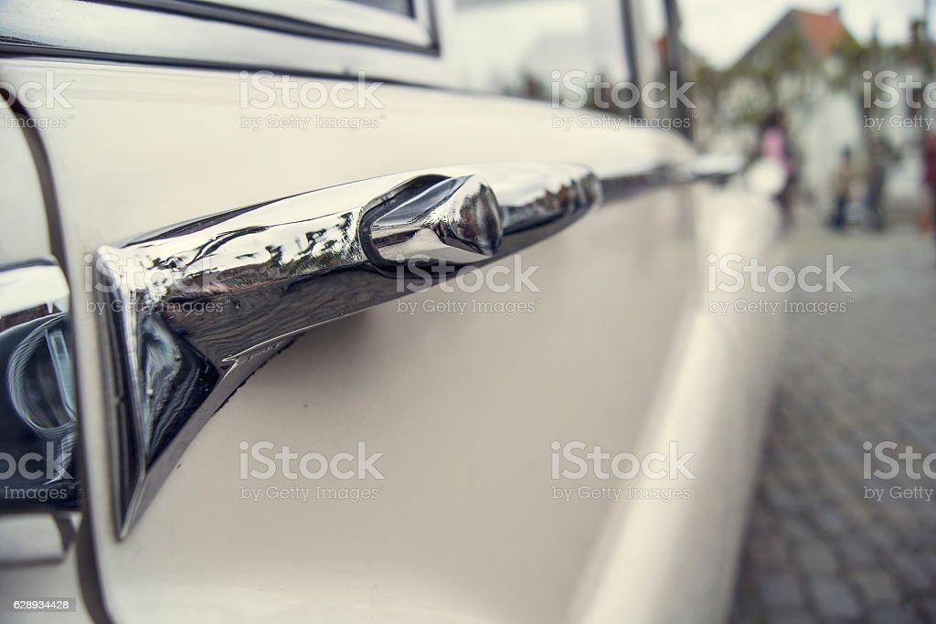 White Vintage Car Detail stock photo