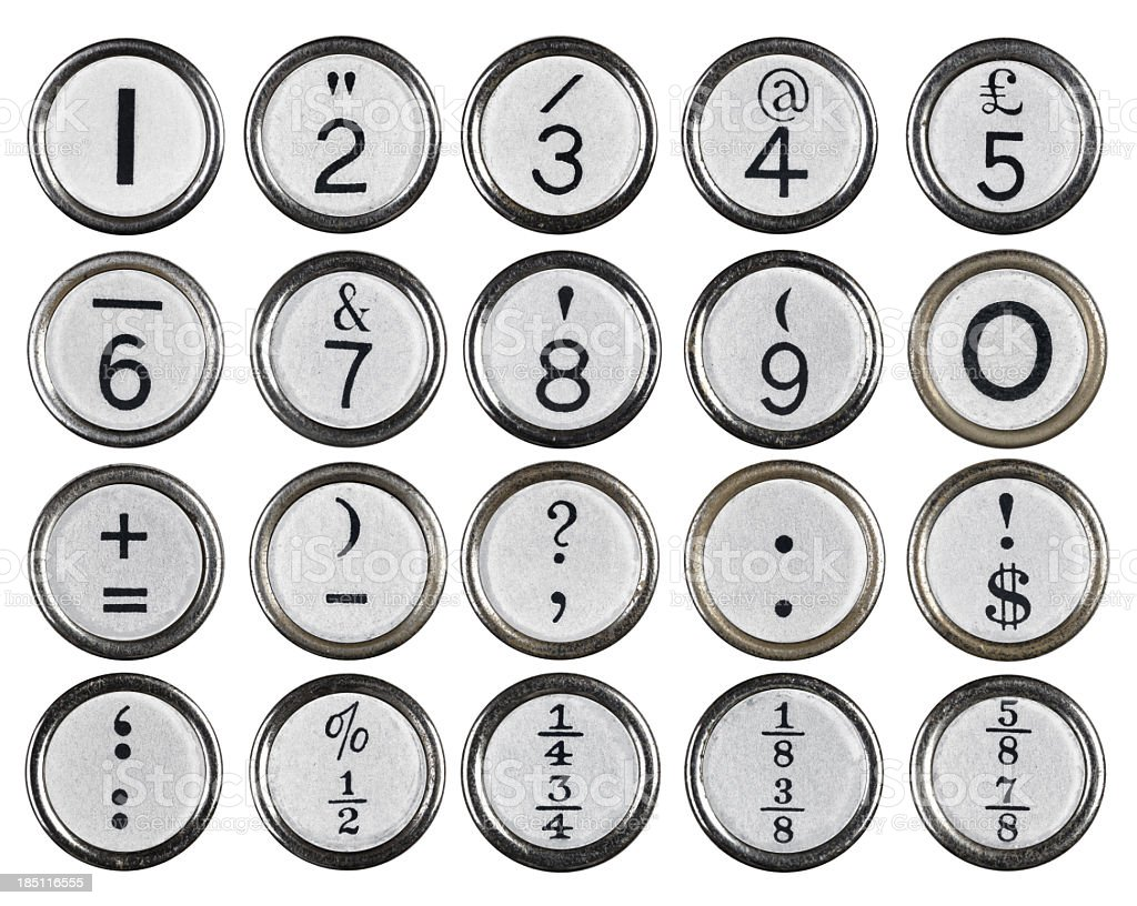 White Vintage Typewriter Number Keys stock photo