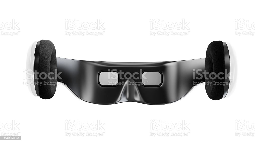 White virtual reality goggles with headphones stock photo