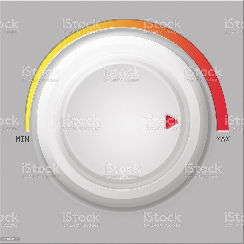 White volume button on gray background stock photo