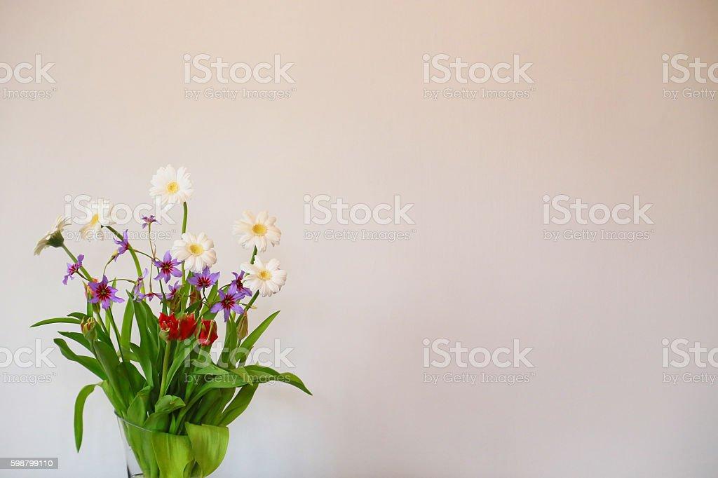 White wall and flower foto de stock libre de derechos