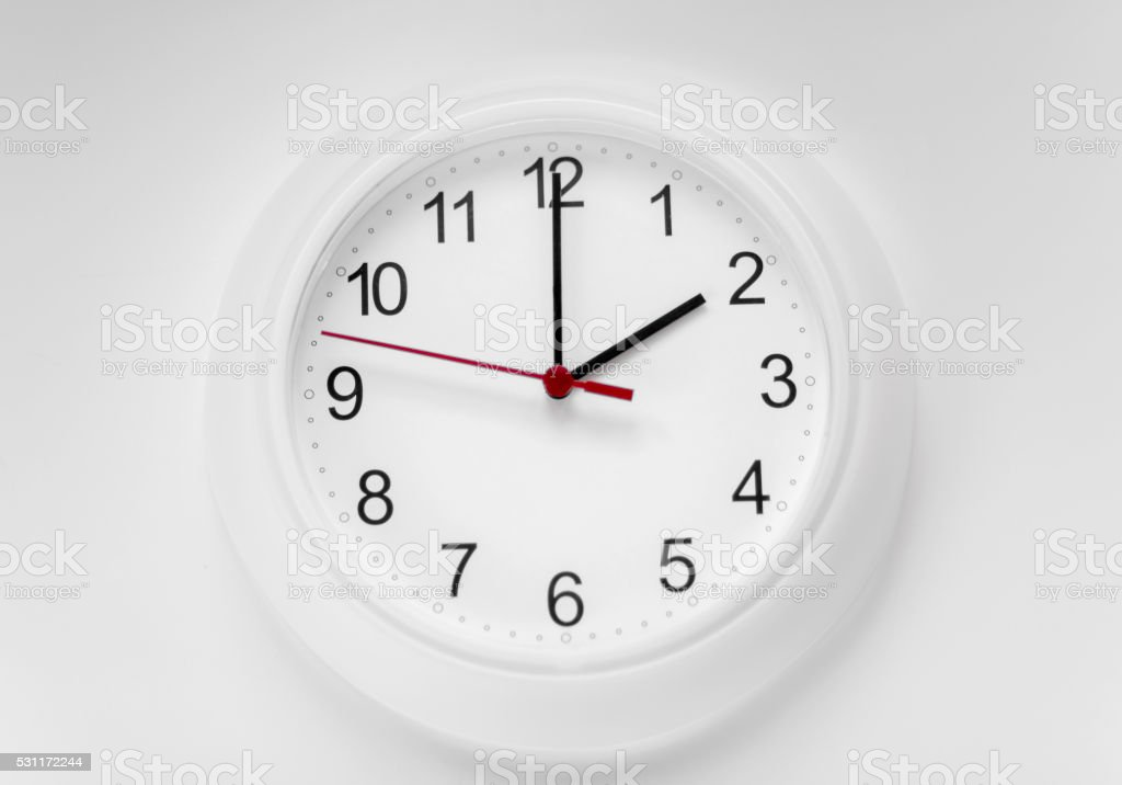 White wall clock stock photo