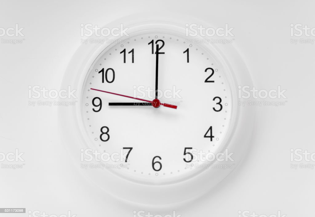 White wall clock stock photo
