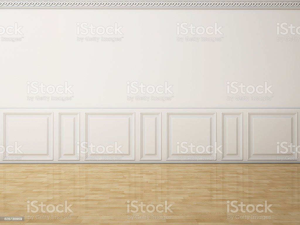 White wall in a classic style and reflection wooden floor stock photo