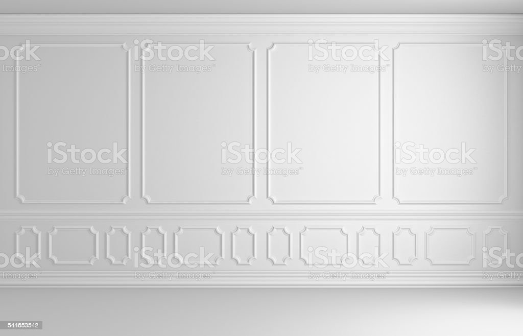 White wall in classic style colorless empty room stock photo