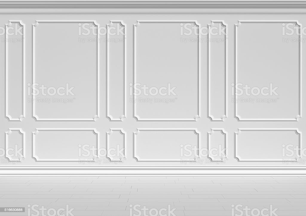 White wall in classic style. stock photo