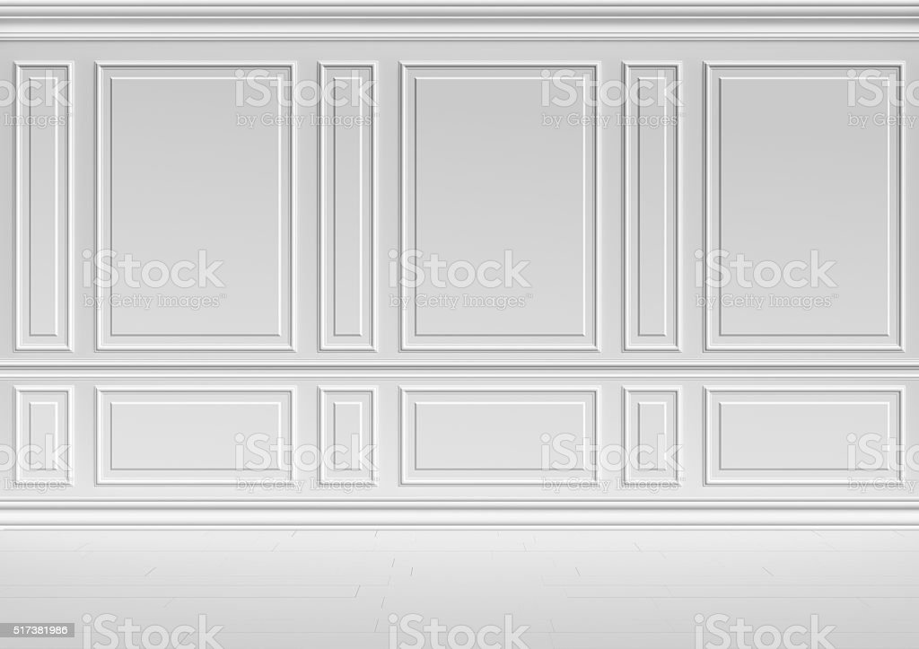 White wall in classic style room stock photo