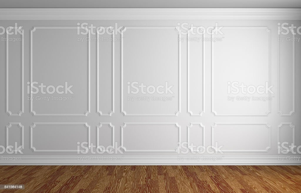 White wall in classic style room with parquet stock photo