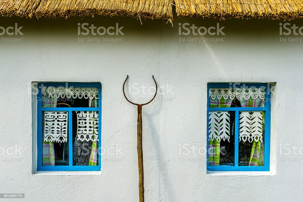 White wall of the country peasant house stock photo