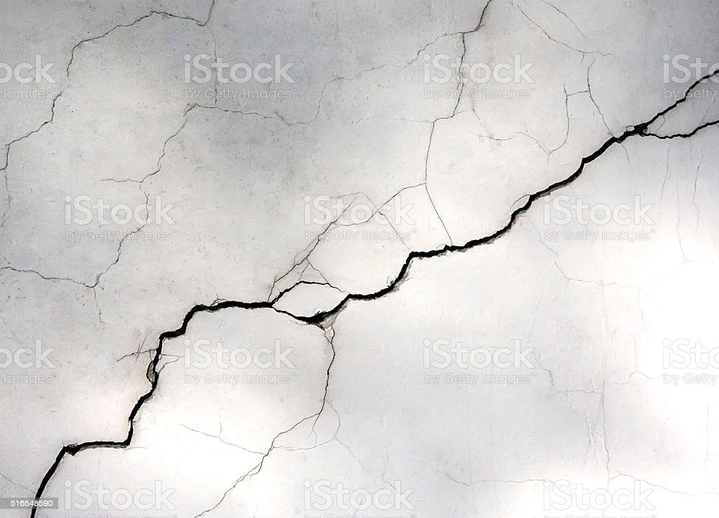 white wall with cracks stock photo