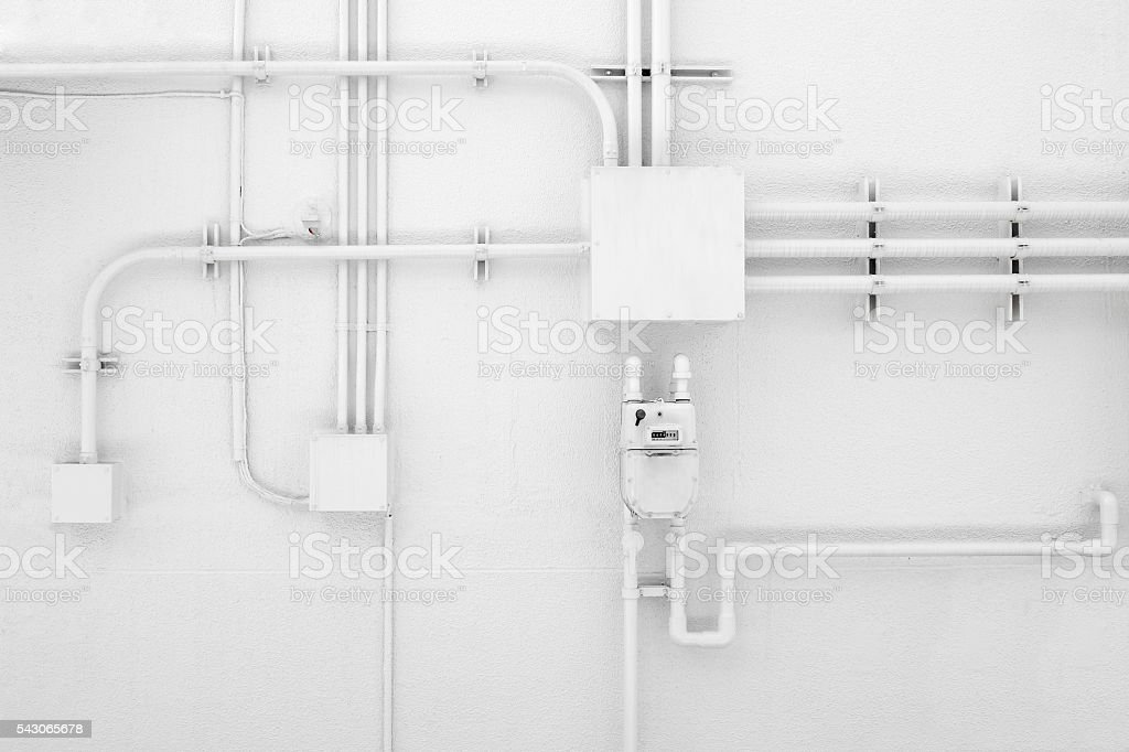 White walls and pipe stock photo