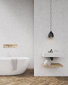 White walls bathroom with shadow