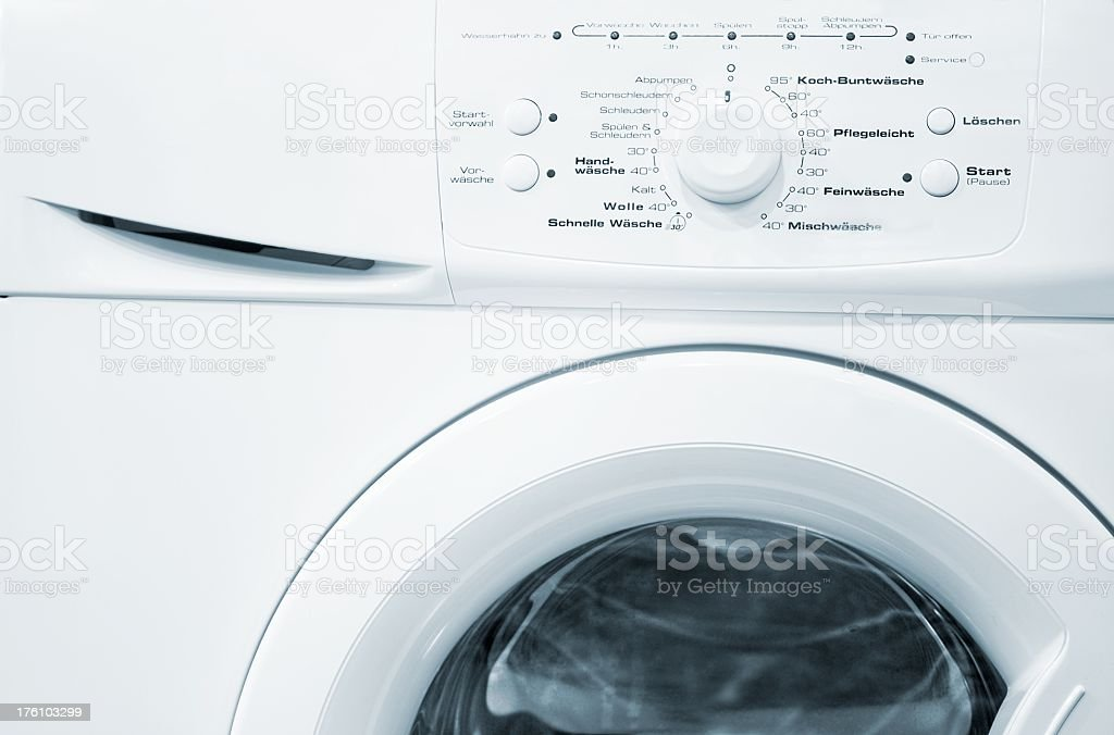 White washing machine front with program wheel royalty-free stock photo